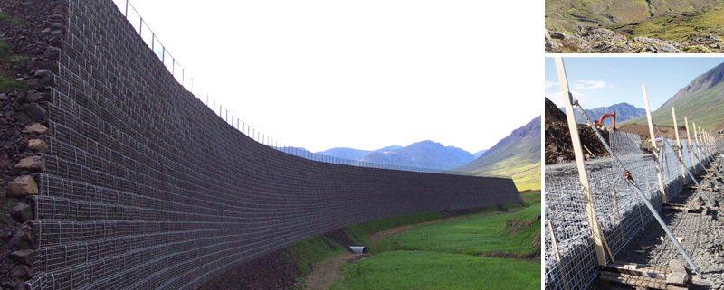 Lawinenschutzmauer in Island