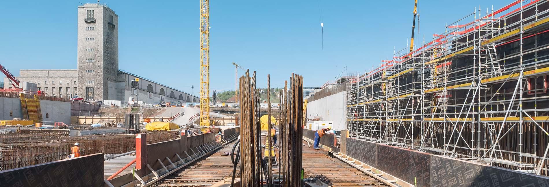 Der Stuttgarter Hauptbahnhof während der Baumaßnahmen zu S21