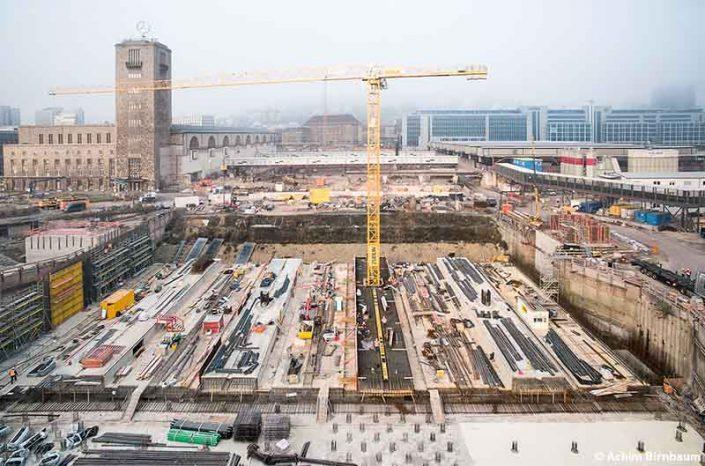 Die Großbaustelle von Stuttgart 21 am Hauptbahnhof