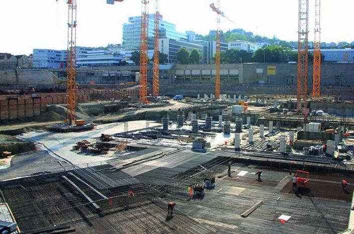 Teilweise wurden 263t Stahl pro Tag zum Milaneo nach Stuttgart geliefert