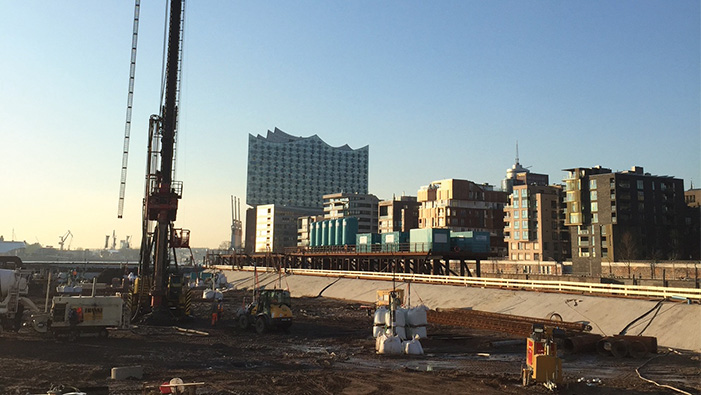 SÜLZLE Stahlpartner supplies drilled piles and diaphragm walls for Strandkai Quarter