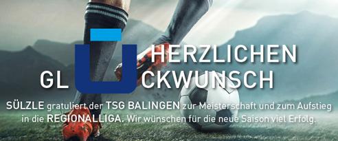 Die SÜLZLE Gruppe gratuliert der TSG Balingen als Hauptsponsor zum Aufstieg in die Regionalliga
