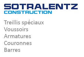 SOTRALENTZ CONSTRUCTION: Treillis spéciaux, voussoirs, armatures, couronnes et barres
