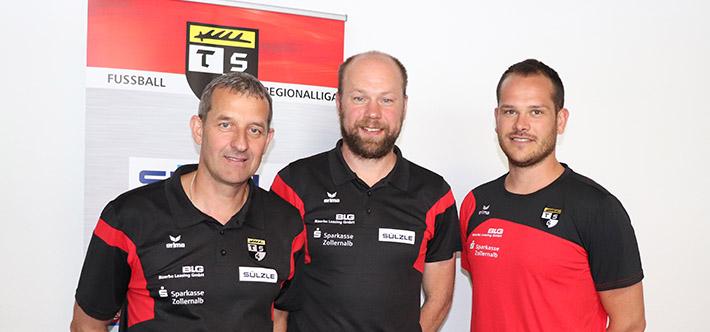 Der TSG Balingen bei der Pressekonferenz bei der SÜLZLE Gruppe zum Sponsoring in der Regionalliga